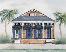 Shotgun House by Barbara Roemhild Watercolors Architecture Renderings