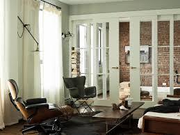 Modern Cowhide Rug Sliding Interior Doors Living Room Modern With Brick Wall Cowhide