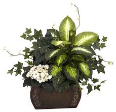 Silk Flower Arrangements For Office - nearly natural african violet dieffenbachia and ivy with chest