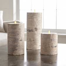 white birch flameless pillar candles crate and barrel