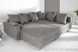 sofa liegewiese design ecksofa mit hocker loft strukturstoff grau federkern sofa