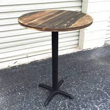 Turned Pedestal Bistro Table Made Of Reclaimed Weathered Pallet Wood This Table Top Is Set On