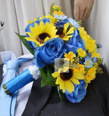 wedding flowers blue handmade artificial flower wedding flower holding flowers