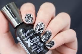 nail art black and white hairspray nails nail