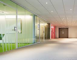 colorful office interior glass design with large partitions