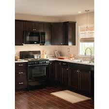 lowes kitchen cabinet touch up paint now brookton 30 in w x 35 in h x 23 75 in d espresso door and drawer base stock cabinet
