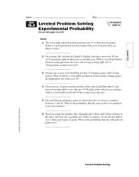 Experimental Probability Worksheet Leveled Problem Solving Experimental Probability 5th 6th Grade