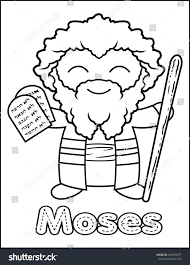 little bible character coloring activity moses stock illustration