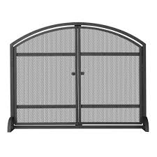 uniflame 1 panel arch top black wrought iron fireplace screen with