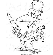 vector of a cartoon construction guy holding a hammer and saw