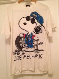 snoopy halloween shirt vintage snoopy double sided mechanic tshirt large changes joe