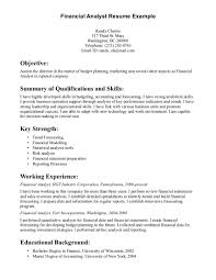 Qa Resume Objective Resume Objective Financial Analyst Resume For Your Job Application