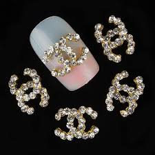 gold alloy glitter cc logo 3d nail art decoration rhinestones nail