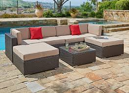 Outdoor Sectional Sofa Suncrown Cushioned 7pc Outdoor Sectional Sofa Set Coffee Table