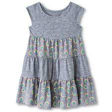 toddler girls u0027 rainbow tiered dress gray circo baby clothes