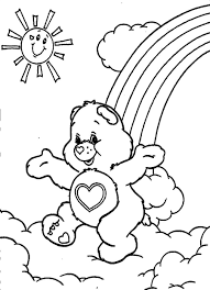 care bears coloring pages rainbow and sun coloringstar