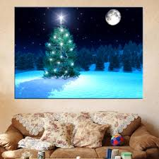 Gifts For Home Decoration Aliexpress Com Buy Led Canvas Painting Christmas Tree Under Moon