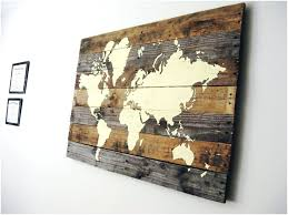 wall arts world map wood wooden wall on modern home