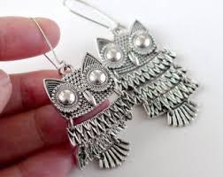 owl earrings owl earrings etsy