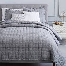 Grey Quilted Comforter Modern Quilts U0026 Coverlets West Elm