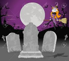 cartoon halloween background halloween cemetery background with tombs and funny cartoon witch