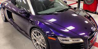 audi exclusive velvet purple r8 v10 spyder delivered at audi north
