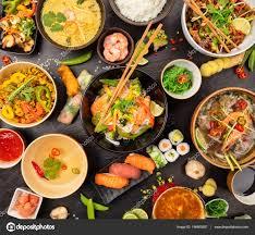 cuisine d une chinoise table de la cuisine asiatique avec différents types de nourriture