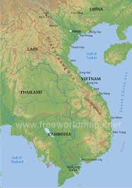 World Map Vietnam by Vietnam Physical Map