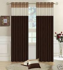 Chocolate Curtains Eyelet Faux Silk Fully Luxury Lined Three Tone Eyelet Curtains Gold