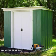 rowlinson greenvale metal pent shed 6x4 garden street