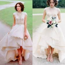 high low wedding dress with sleeves discount rustic country high low wedding dresses with lace tiered
