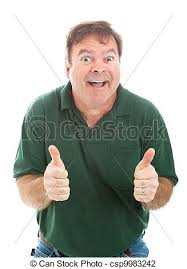 stock photo goofy thumbs guy casually dressed mature man