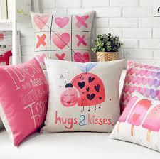 Ladybug Home Decor S Day Present Modern Pink Ladybug Kisses Chair Pillows