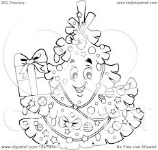 lineart clipart of a cartoon black and white christmas tree