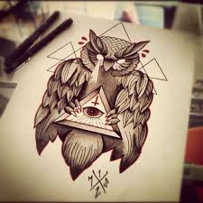 30 best owl u0026 triangle eye tattoos