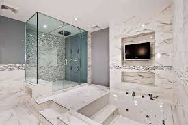 Japanese Shower by Bathroom Marble Tile Flooring And Wall Clear Glass Wall