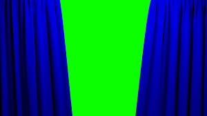 Blue Curtains White Curtains Opening And Closing Stage Theater Cinema Green