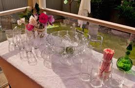 drinks table set up at high tea garden party high tea garden