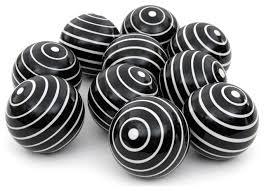 white stripes porcelain balls set of 10 contemporary