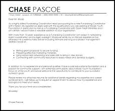 fundraising coordinator cover letter sample livecareer