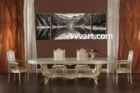 Dining Room Wall Art 3 Piece Black And White Mountain Canvas Photography