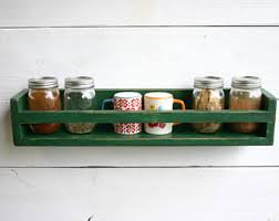 Wall Mount Spice Rack With Jars Wooden Spice Rack Etsy