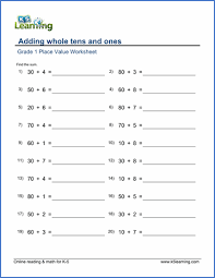 grade 1 math plave value worksheet adding whole tens u0026 ones k5