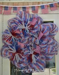 Fourth Of July Door Decorations Deco Mesh Wreath For The 4th Of July