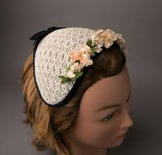 1950s headband 1950s white and navy floral headband hat from bloomersandfrocks