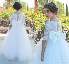 2017 new toddler girls cute flower girls dresses with bow sash