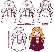 draw cute hermione harry potter chibi kawaii easy