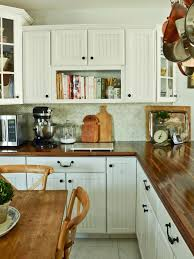 Kitchen Island Pot Rack Countertops Country Kitchen White Cabinetry Butcher Block