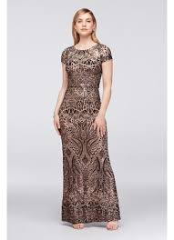 betsy and adam dresses allover sequin embellished mesh column gown david s bridal