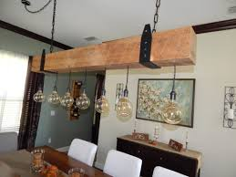Wood Beam Light Fixture Reclaimed Wood Beam Chandelier With Edison Globe Lights Fama